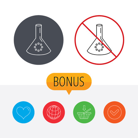 poison arrow: Laboratory bulb or beaker icon. Chemistry sign. Science or pharmaceutical symbol. Shopping cart, globe, heart and check bonus buttons. Ban or stop prohibition symbol.