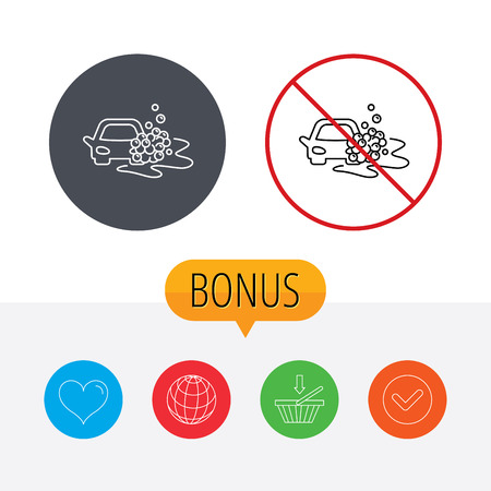 operated: Car wash icon. Cleaning station sign. Foam bubbles symbol. Shopping cart, globe, heart and check bonus buttons. Ban or stop prohibition symbol.