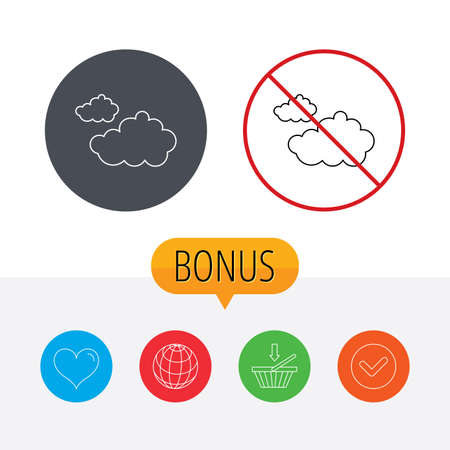 overcast: Cloudy icon. Overcast weather sign. Meteorology symbol. Shopping cart, globe, heart and check bonus buttons. Ban or stop prohibition symbol.