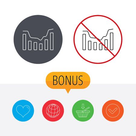 infochart: Dynamics icon. Statistic chart sign. Growth infochart symbol. Shopping cart, globe, heart and check bonus buttons. Ban or stop prohibition symbol.