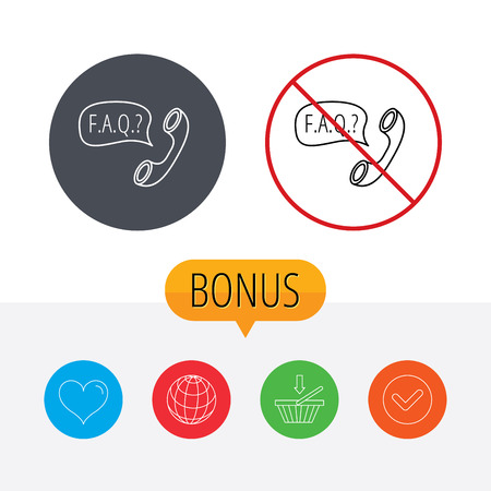 phone ban: FAQ service icon. Support speech bubble sign. Phone symbol. Shopping cart, globe, heart and check bonus buttons. Ban or stop prohibition symbol. Illustration