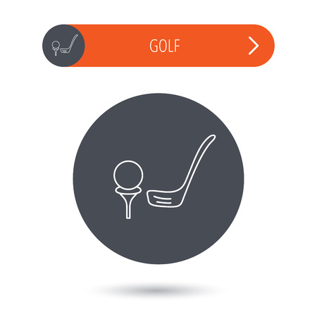 golfing: Golf club icon. Golfing sport sign. Professional equipment symbol. Gray flat circle button. Orange button with arrow. Illustration