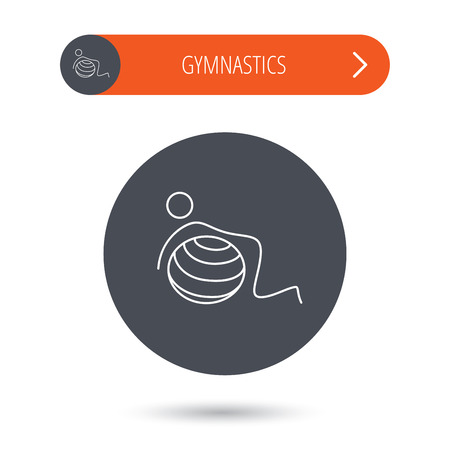 """pilates ball"": Gymnastic ball icon. Pilates fitness sign. Sport workout symbol. Gray flat circle button. Orange button with arrow. Illustration"