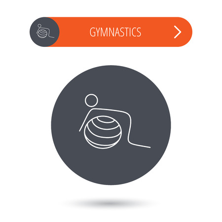toning: Gymnastic ball icon. Pilates fitness sign. Sport workout symbol. Gray flat circle button. Orange button with arrow. Illustration
