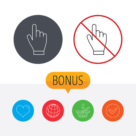 click with hand: Click hand icon. Press or push pointer sign. Shopping cart, globe, heart and check bonus buttons. Ban or stop prohibition symbol.