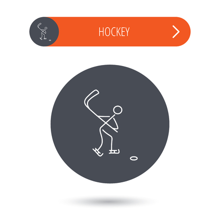 professional sport: Ice hockey icon. Professional sport game sign. Gray flat circle button. Orange button with arrow.