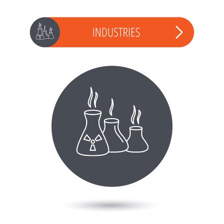 chemical industry: Industry building icon. Manufacturing sign. Chemical toxic production symbol. Gray flat circle button. Orange button with arrow.
