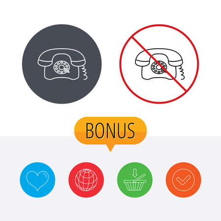 Retro phone icon. Old telephone sign. Shopping cart, globe, heart and check bonus buttons. Ban or stop prohibition symbol. Stock Vector - 47378313