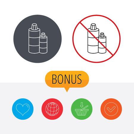 shampoo bottles: Shampoo bottles icon. Liquid soap sign. Shopping cart, globe, heart and check bonus buttons. Ban or stop prohibition symbol.
