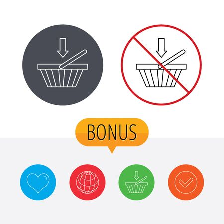 Shopping cart icon. Online buying sign. Shopping cart, globe, heart and check bonus buttons. Ban or stop prohibition symbol.