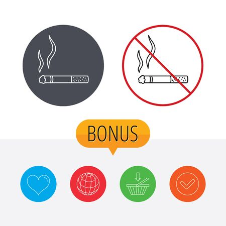 heart burn: Smoking allowed icon. Yes smoke sign. Shopping cart, globe, heart and check bonus buttons. Ban or stop prohibition symbol. Illustration