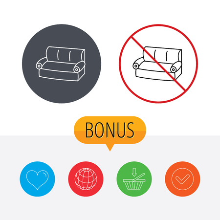 comfortable: Sofa icon. Comfortable couch sign. Furniture symbol. Shopping cart, globe, heart and check bonus buttons. Ban or stop prohibition symbol. Illustration