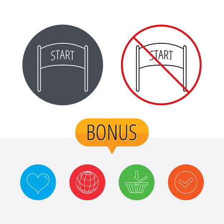 checkpoint: Start banner icon. Marathon checkpoint sign. Shopping cart, globe, heart and check bonus buttons. Ban or stop prohibition symbol.