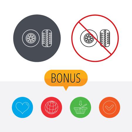 tread: Tire tread icon. Car wheel sign. Shopping cart, globe, heart and check bonus buttons. Ban or stop prohibition symbol. Illustration