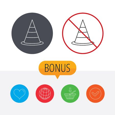 road warning sign: Traffic cone icon. Road warning sign. Shopping cart, globe, heart and check bonus buttons. Ban or stop prohibition symbol. Vectores