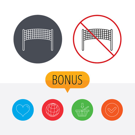 volleyball net: Volleyball net icon. Beach sport game sign. Shopping cart, globe, heart and check bonus buttons. Ban or stop prohibition symbol. Illustration