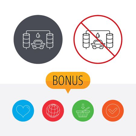 carwash: Automatic carwash icon. Cleaning station with water drop sign. Shopping cart, globe, heart and check bonus buttons. Ban or stop prohibition symbol. Illustration
