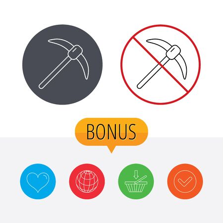 hardwork: Mining tool icon. Pickaxe equipment sign. Minerals industry symbol. Shopping cart, globe, heart and check bonus buttons. Ban or stop prohibition symbol. Illustration