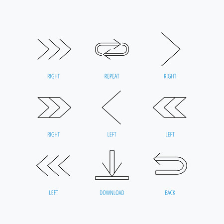 background next: Arrows icons. Download, repeat linear signs. Next, back arrows flat line icons. Linear set icons on white background.