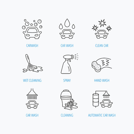 foam bubbles: Car wash icons. Automatic cleaning station linear signs. Bucket with foam bubbles, sponge and spray flat line icons. Linear set icons on white background. Illustration