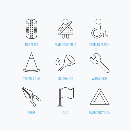 tread: Tire tread, traffic cone and wrench key icons. Emergency triangle, flag and pliers linear signs. Disabled person icons. Linear set icons on white background. Illustration