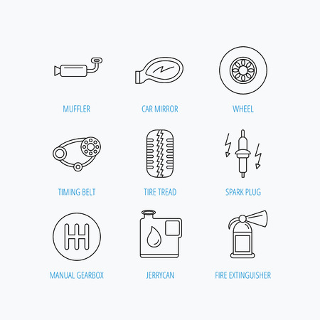 Wheel, car mirror and timing belt icons. Fire extinguisher, jerrycan and manual gearbox linear signs. Muffler, spark plug icons. Linear set icons on white background.