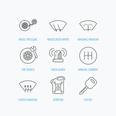 wiper: Manual gearbox, tire service and car key icons. Siren alarm, jerrycan and wheel pressure linear signs. Window washing, wiper and heated icons. Linear set icons on white background. Illustration