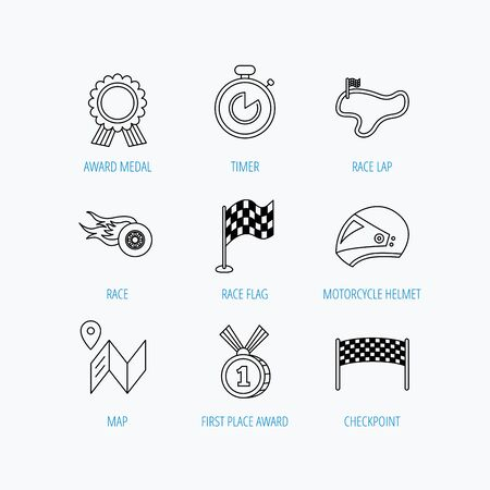 race winner: Race flag and speed icons. Winner medal, motorcycle helmet and timer linear signs. Map navigation flat line icons. Linear set icons on white background. Illustration