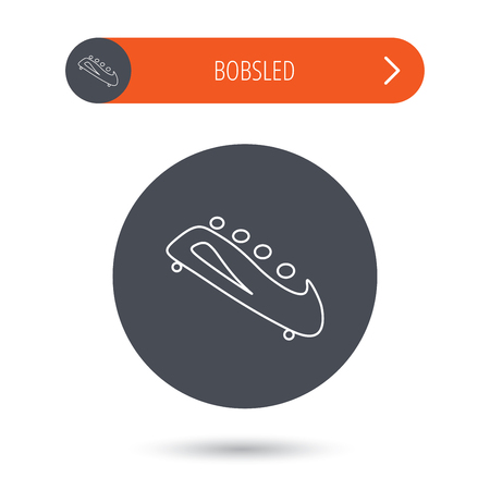 bobsleigh: Bobsleigh icon. Four-seated bobsled sign. Professional winter sport symbol. Gray flat circle button. Orange button with arrow.