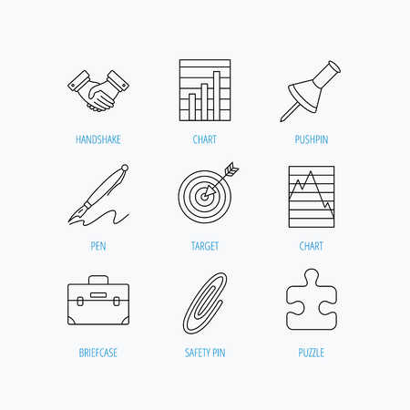 white pushpin: Handshake, graph charts and target icons. Puzzle, pushpin and safety pin linear signs. Briefcase and pen flat line icons. Linear set icons on white background. Illustration