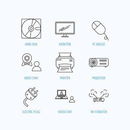portative: Monitor, printer and wi-fi router icons. Video chat, electric plug and pc mouse linear signs. Projector, hard disk icons. Linear set icons on white background. Illustration