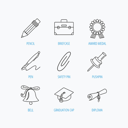 first year student: Graduation cap, pencil and diploma icons. Award medal, briefcase and bell linear signs. Pen, safety pin icons. Linear set icons on white background. Illustration