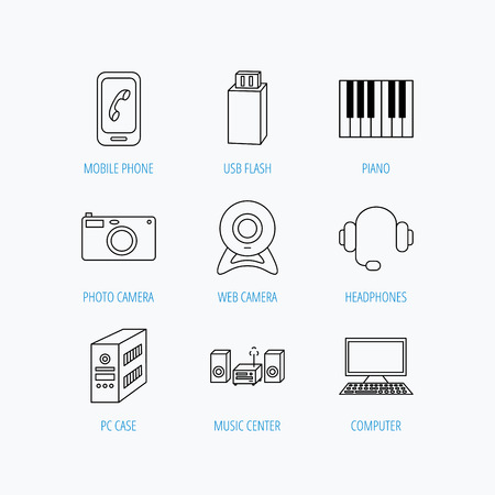 pc case: Photo camera, headphones and Usb flash icons. PC case, computer with monitor and web camera linear signs. Piano icons. Linear set icons on white background.