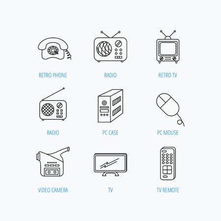 tv remote: Radio, TV remote and video camera icons. Retro phone, PC case and mouse linear signs. Linear set icons on white background.
