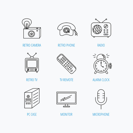 Retro camera, radio and phone call icons. Monitor, PC case and microphone linear signs. TV remote, alarm clock icons. Linear set icons on white background.