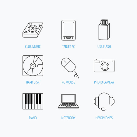 usb disk: Tablet PC, USB flash and notebook laptop icons. Club music, hard disk and photo camera linear signs. Piano, headphones icons. Linear set icons on white background.