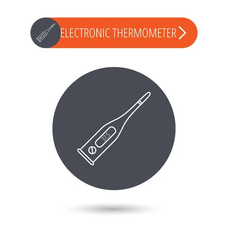 termometer: Electronic thermometer icon. Measurement tool sign. Temperature control symbol. Gray flat circle button. Orange button with arrow.