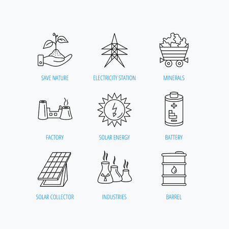 solar collector: Solar collector energy, battery and oil barrel icons. Minerals, electricity station and factory linear signs. Industries, save nature icons. Linear set icons on white background. Illustration