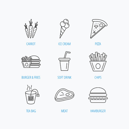 ice tea: Hamburger, pizza and soft drink icons. Tea bag, meat and chips fries linear signs. Ice cream, carrot icons. Linear set icons on white background.