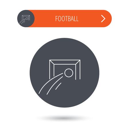 soccer goal: Football goalkeeper icon. Soccer sport sign. Team goal game symbol. Gray flat circle button. Orange button with arrow.