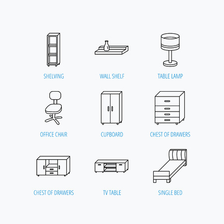 shelving: Single bed, TV table and shelving icons. Office chair, table lamp and cupboard linear signs. Wall shelf, chest of drawers icons. Linear set icons on white background.