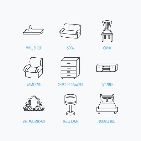 armchair: Double bed, table lamp and armchair icons. Chair, lamp and vintage mirror linear signs. Wall shelf, sofa and chest of drawers furniture icons. Linear set icons on white background.