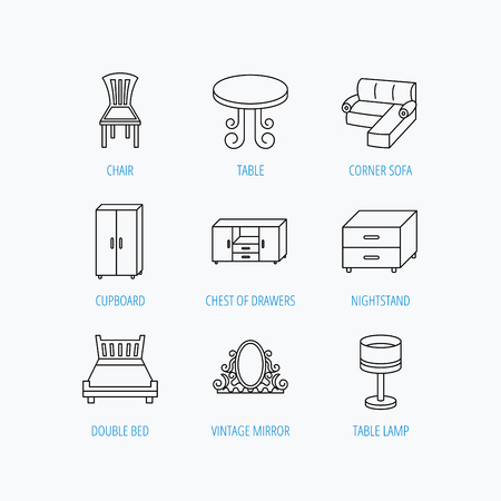 nightstand: Corner sofa, table and cupboard icons. Chair, lamp and nightstand linear signs. Vintage mirror, double bed and chest of drawers icons. Linear set icons on white background.
