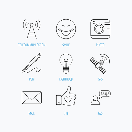 Mail, photo camera and lightbulb icons. Pen, GPS and telecommunication linear signs. FAQ, like and smile icons. Linear set icons on white background.