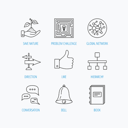 global direction: Global network, like and conversation icons. Book, bell and direction arrows linear signs. Save nature, maze and hierarchy icons. Linear set icons on white background.
