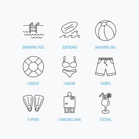 changing: Surfboard, swimming pool and trunks icons. Beach ball, lingerie and shorts linear signs. Lifebuoy, cocktail and changing cabin icons. Linear set icons on white background. Illustration