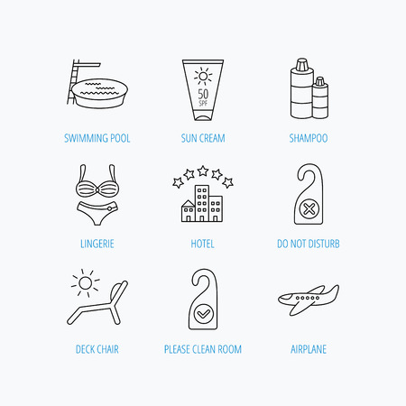 hotel pool: Hotel, swimming pool and beach deck chair icons. Sun cream, do not disturb and clean room linear signs. Shampoo and airplane icons. Linear set icons on white background.