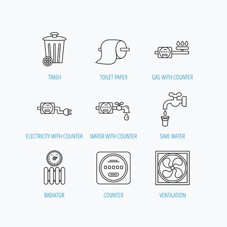 Lüftung, Kühler Und Wasserzähler-Icons. Toiler Papier, Gas- Und ...