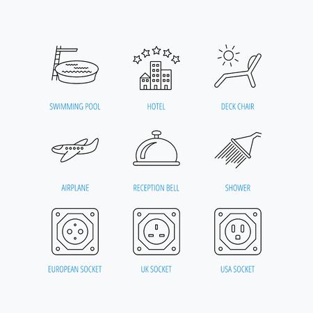 planos electricos: Hotel, piscina y playa silla cubierta de iconos. Alarma de la recepci�n, ducha y el avi�n signos lineales. Europea, Reino Unido y los iconos de socket USA. Lineal ajustado iconos en el fondo blanco. Vectores