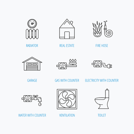 canalization: Ventilation, garage and heat radiator icons. Gas, water and electricity counter linear signs. Real estate, toilet and fire hose icons. Linear set icons on white background.